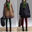 new loose Color matching neck tunic t-shirt , women cotton blouse tops AOLO-522