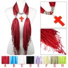 DIY cross pendant jewelry scarf with tassel ending  colors available NL-2077