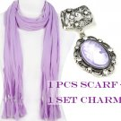DIY fashion purple scarf with jewelry resin stone charms PT-387L PT-632C