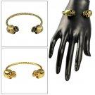 Antique Brass Golden Color SKULL Bangle Slim Cuff Alloy Metal Bracelet BR-1386