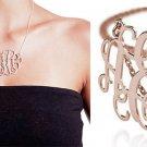 ladies bib monogram initial necklace silver letter pendant NL-2458 E
