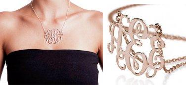 E/E/E script letters pendant dainty chain monogram necklace NL-2458 E