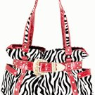 Red buckle zebra handbag