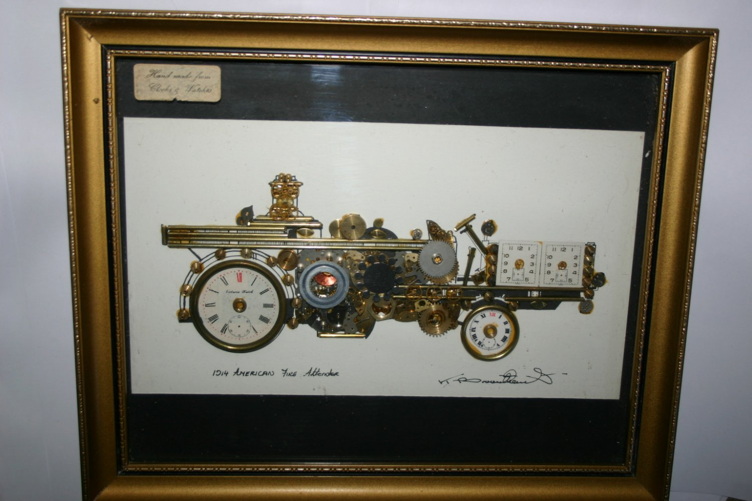 Original Artwork Made From Clocks and Watches Signed American Fire Tende