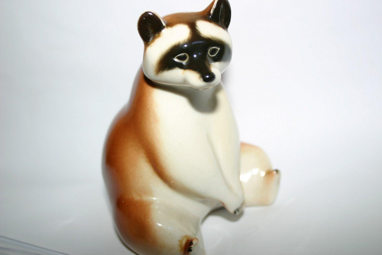 Rare Vintage Lomonosov USSR Porcelain Raccoon Figurine