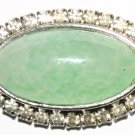 Vintage Silver Necklace With Large Green Blue Stone and Diamonds