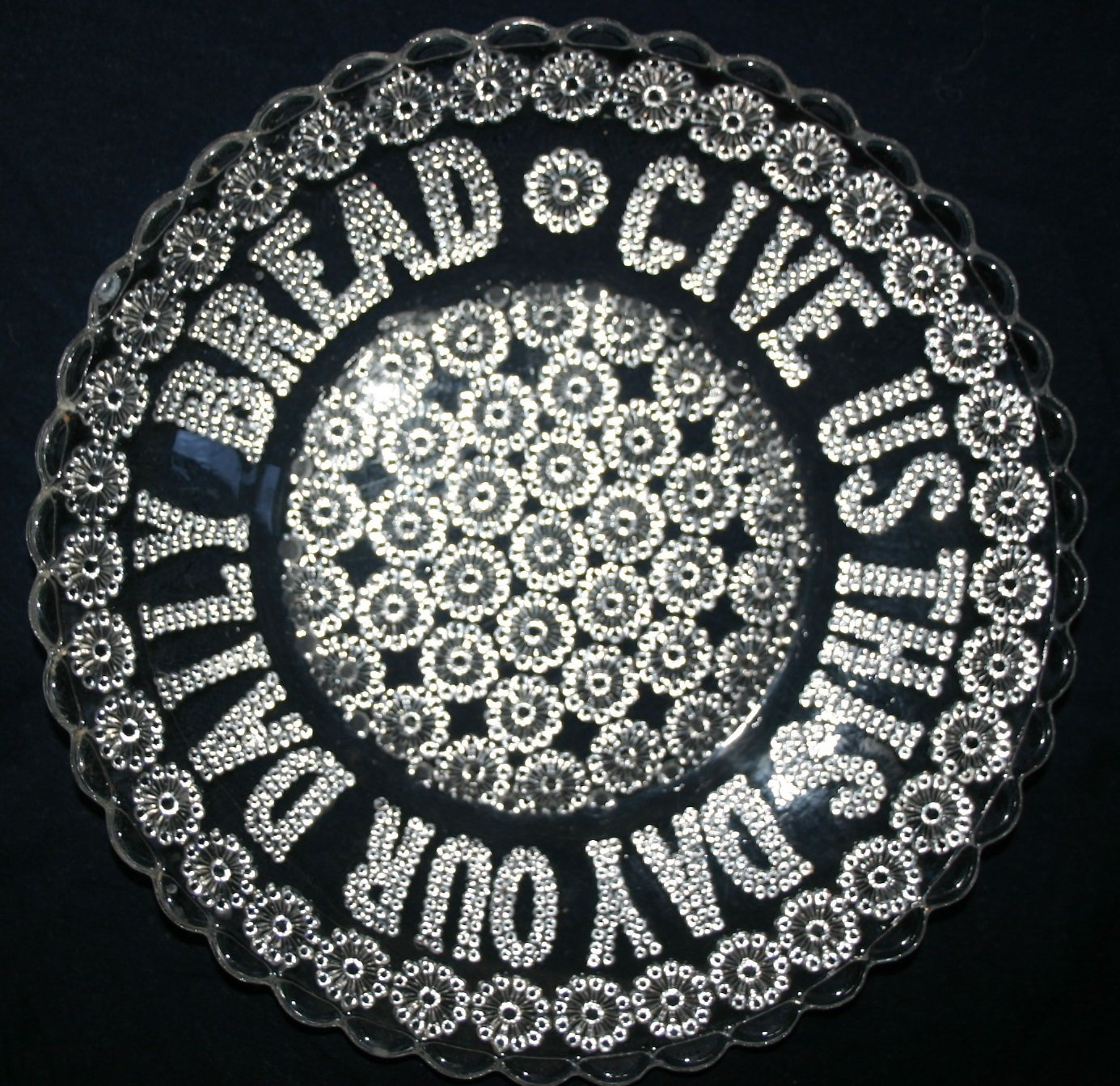 Rare Victorian 1867 Give Us Our Daily Bread Antrique Glass Plate