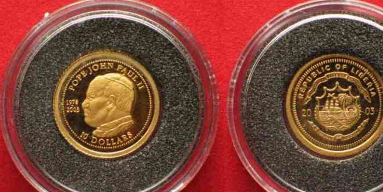 Liberia 1/25 oz Gold LIBERIA 10 Dollars 2003 Pope JOHN PAUL II Proof Coin