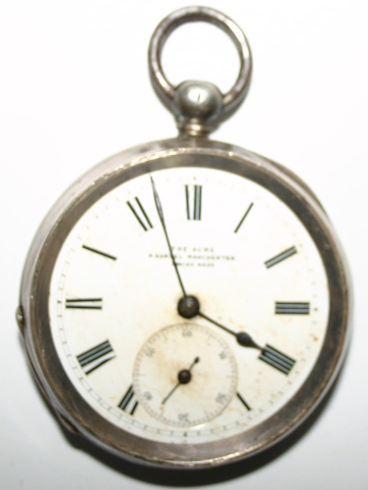 Antique silver pocket watch, H Samuel, Manchester, 1870ds aprox, key wind and time