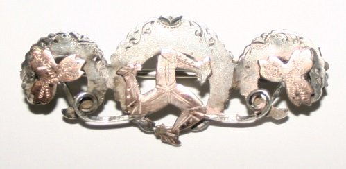 Antique Art Nouveau Silver and Gold Isle Of Man Brooch Hallmarked