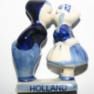 Antique Holland Delftware Pottery Souvenir Kissing Couple Delft