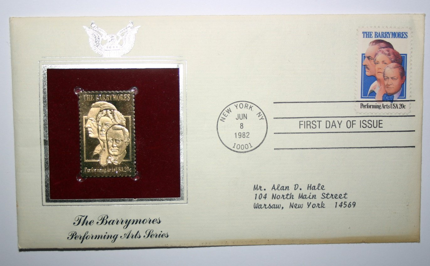 The Barrymores Performing Arts First Day Issue Gold Stamp Cover