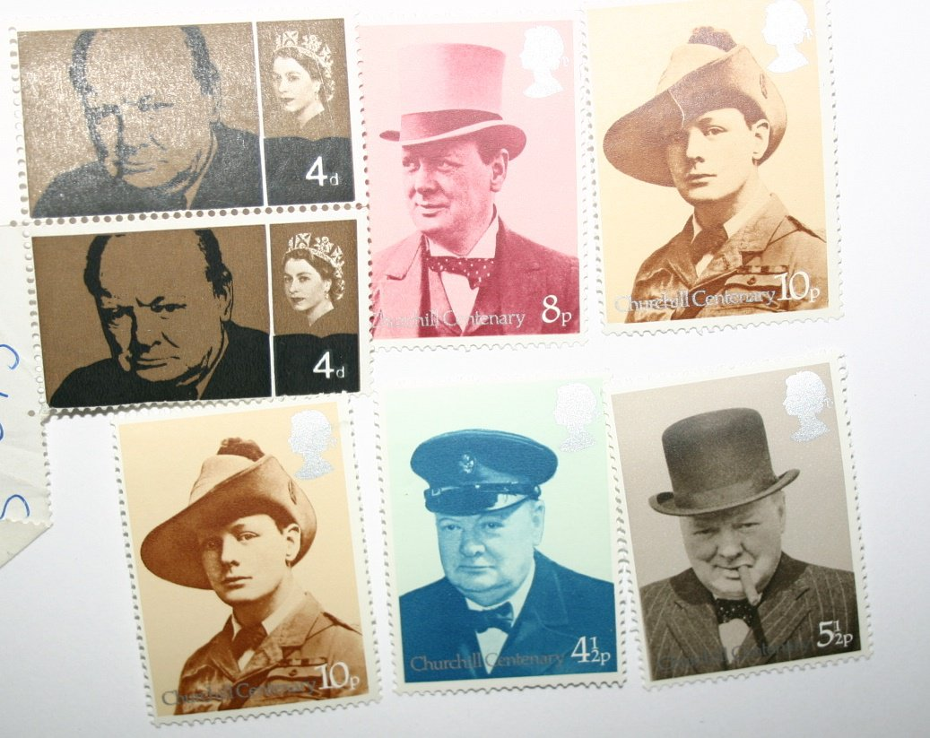 Vintage Collection Of 1974 Winston Churchill Commemorative Stamps Great Britain