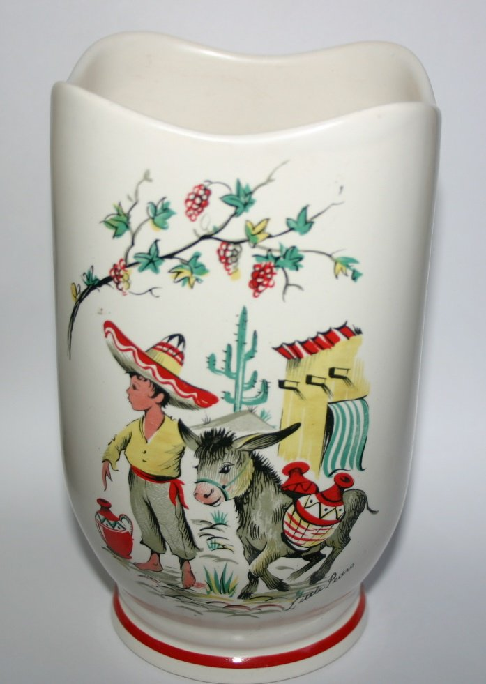 Vintage Crown Ducal Ware Pottery Vase Mexican Boy and Donkey