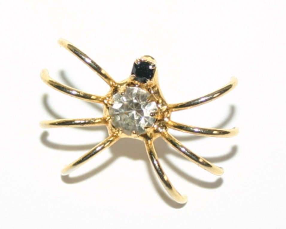 Stunning Gold Spider Diamond and Garnet Ear Stud Fashion Jewellery