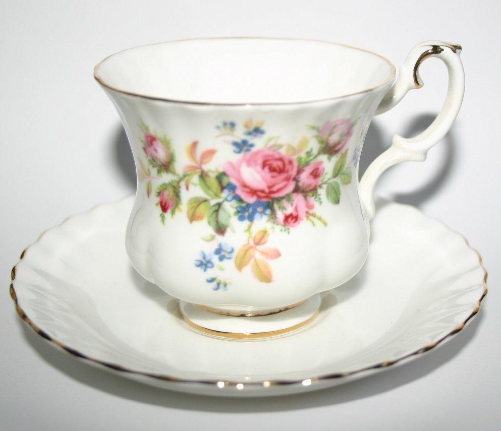 Vintage Royal Albert Moss Rose Design Porcelain Teacup and Saucer Collectors