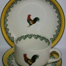 Vintage Price Kensington Pottery Hand Painted Large Hen Design Mug Saucer Plate