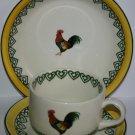 Vintage Price Kensington Pottery Hand Painted Large Hen Design Mug Saucer Plate