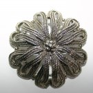 Vintage Costume Hollywood Jewellery Large Silver Ribbon Entwined Designer Brooch