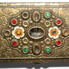 Vintage Golden Engraved Floral Jewelled Card Case