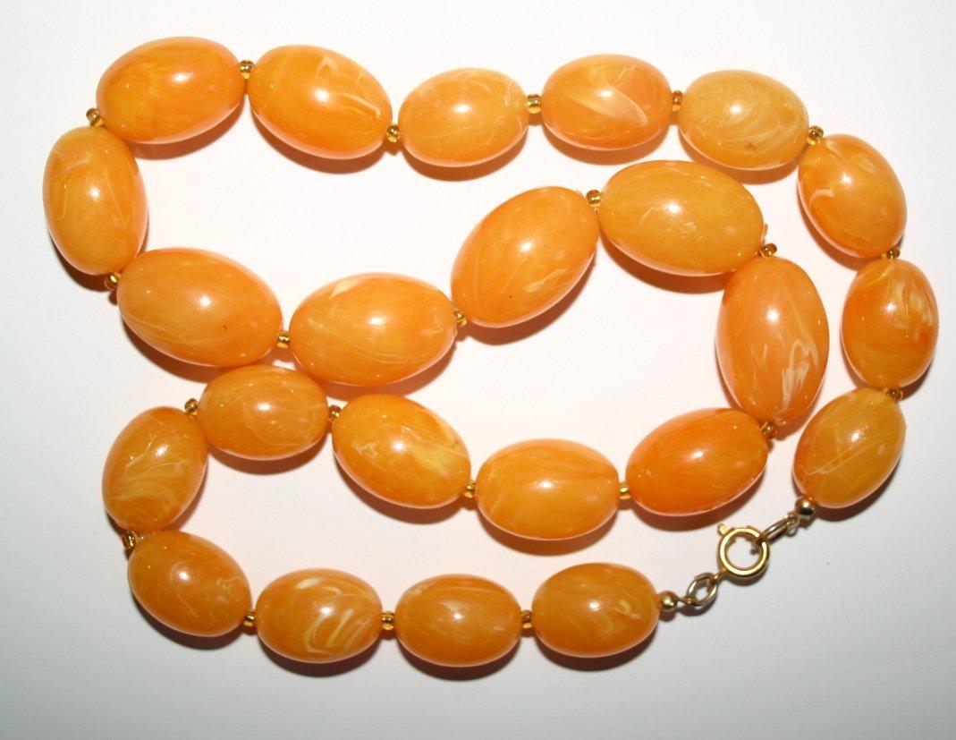 Vintage 1970's Large Orange Beaded Retro Fashion Necklace