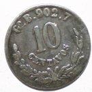 Mexicana 10 centavos Go R.902.7 Silver 1884 coin Rare