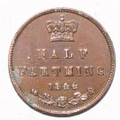 Queen Victoria Young Bun Head Half Farthing 1844 Error on VICTORIA
