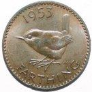 Queen Elizabeth Wren Farthing 1953 Coin