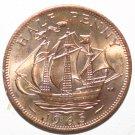 Queen Elizabeth Half Penny 1965 Mint Condition