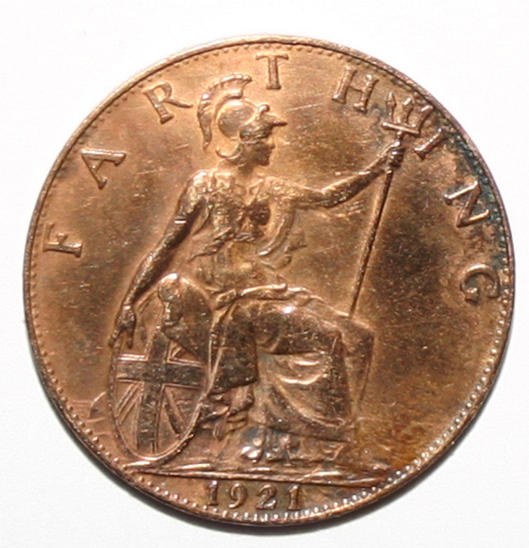 King George V Farthing 1921 Coin Very Excellent Specimen