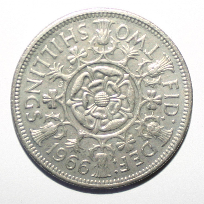 Queen Elizabeth 1966 Two Shilling Coin Collectors Item