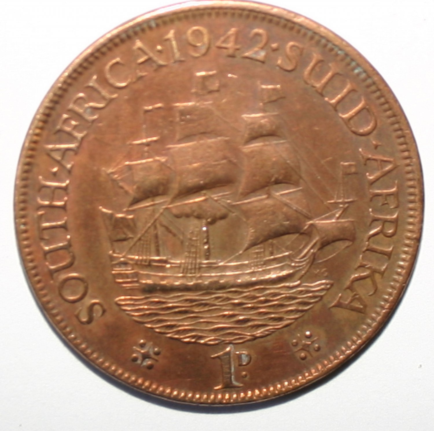 King George VI South Africa 1D Penny 1942 Coin