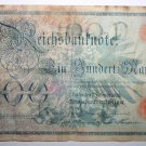 Banknote German One Hundred Mark Reichskassenschein 7 Februar 1908 Money Note