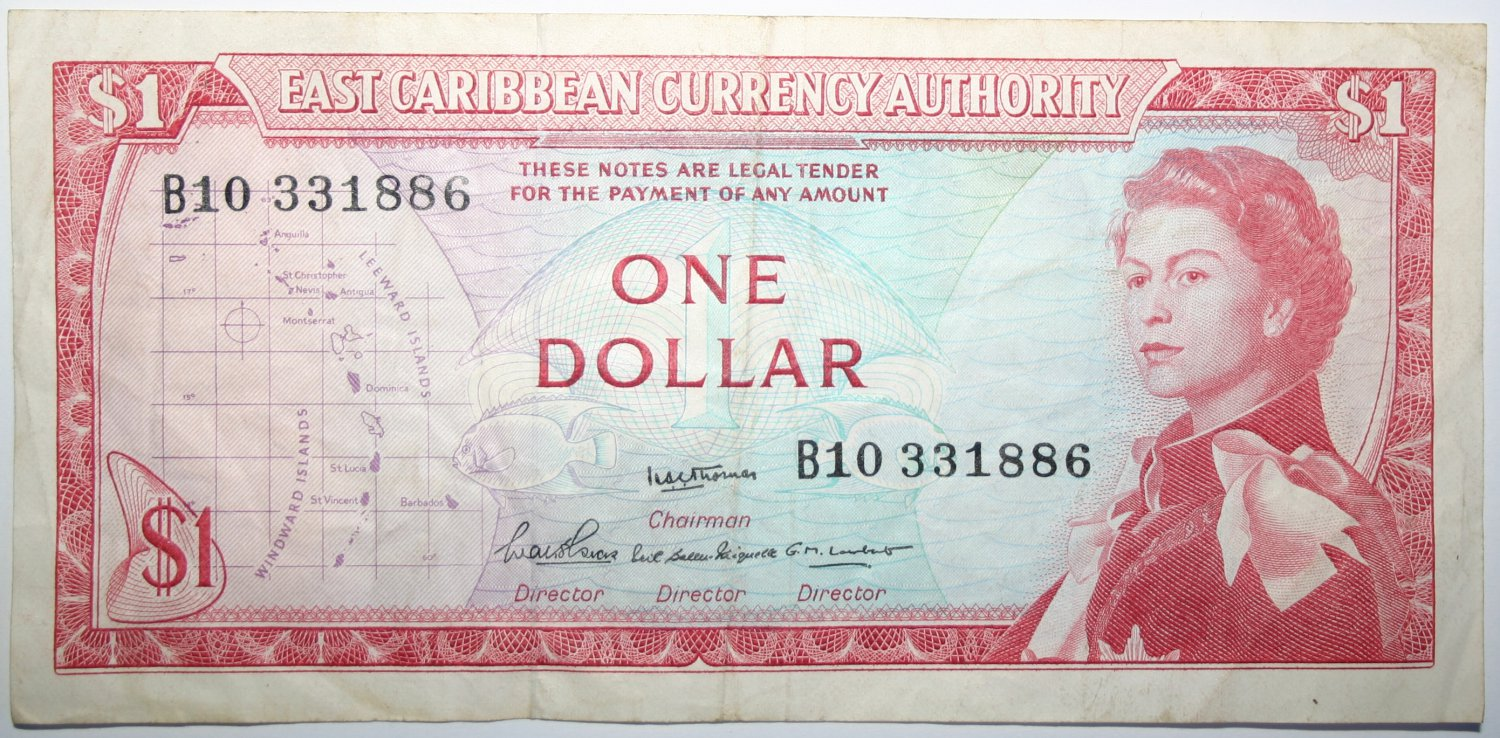 Banknote East Caribbean States One Dollar Bill 1965 Queen Elizabeth Money Note