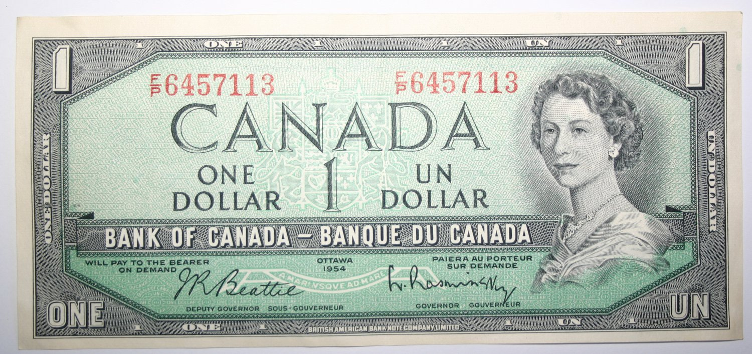 Banknote Bank of Canada Ottawa 1954 One Dollar Bill J.R. Beattie Queen Elizabeth