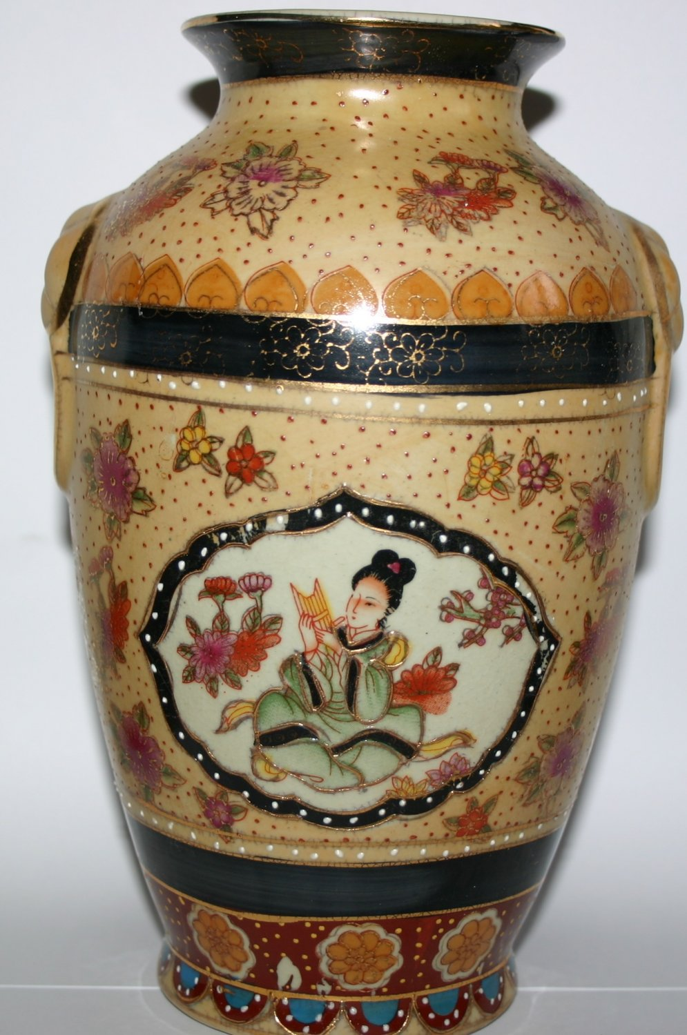 Art Pottery China Ornate Golden Gilt Handcrafted Urn Rare Collectors Edition