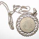 Vintage 1962 Silver Half Crown Designer Pendant