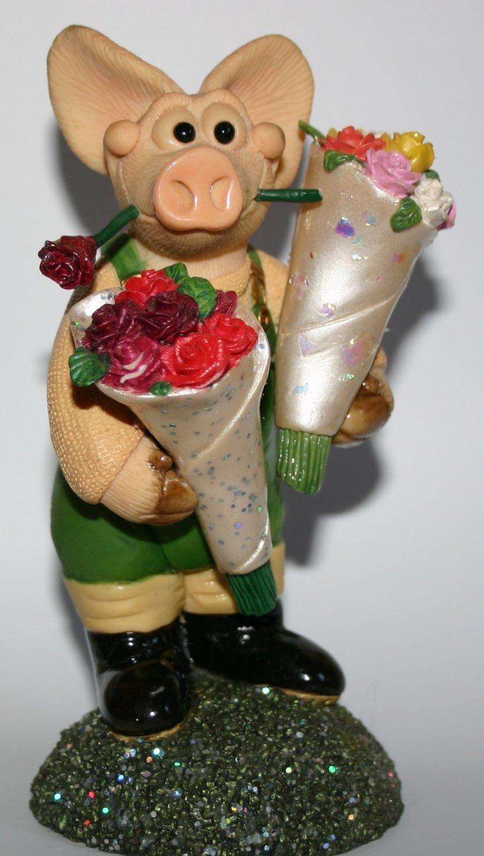 Piggin In Bloom By David Corbridge Handmade Collectors Pig Figurine