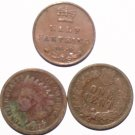 Coins Set British Half Fathing 1844 USA Indian Head Cents 1905 and 1907