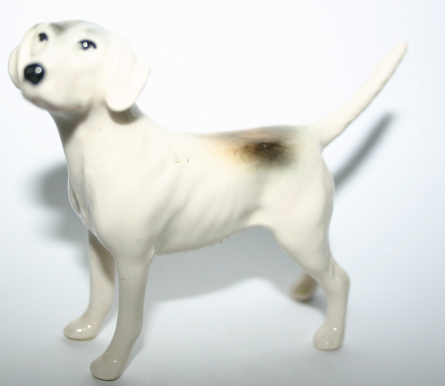Grey White and Brown Fox Hound Dog Figurine By Beswick Pottery Vintage Collectors