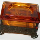 Vintage Ornate Amber Glass Trinket Box Beautiful Engraved Fantasy Fishing Scene