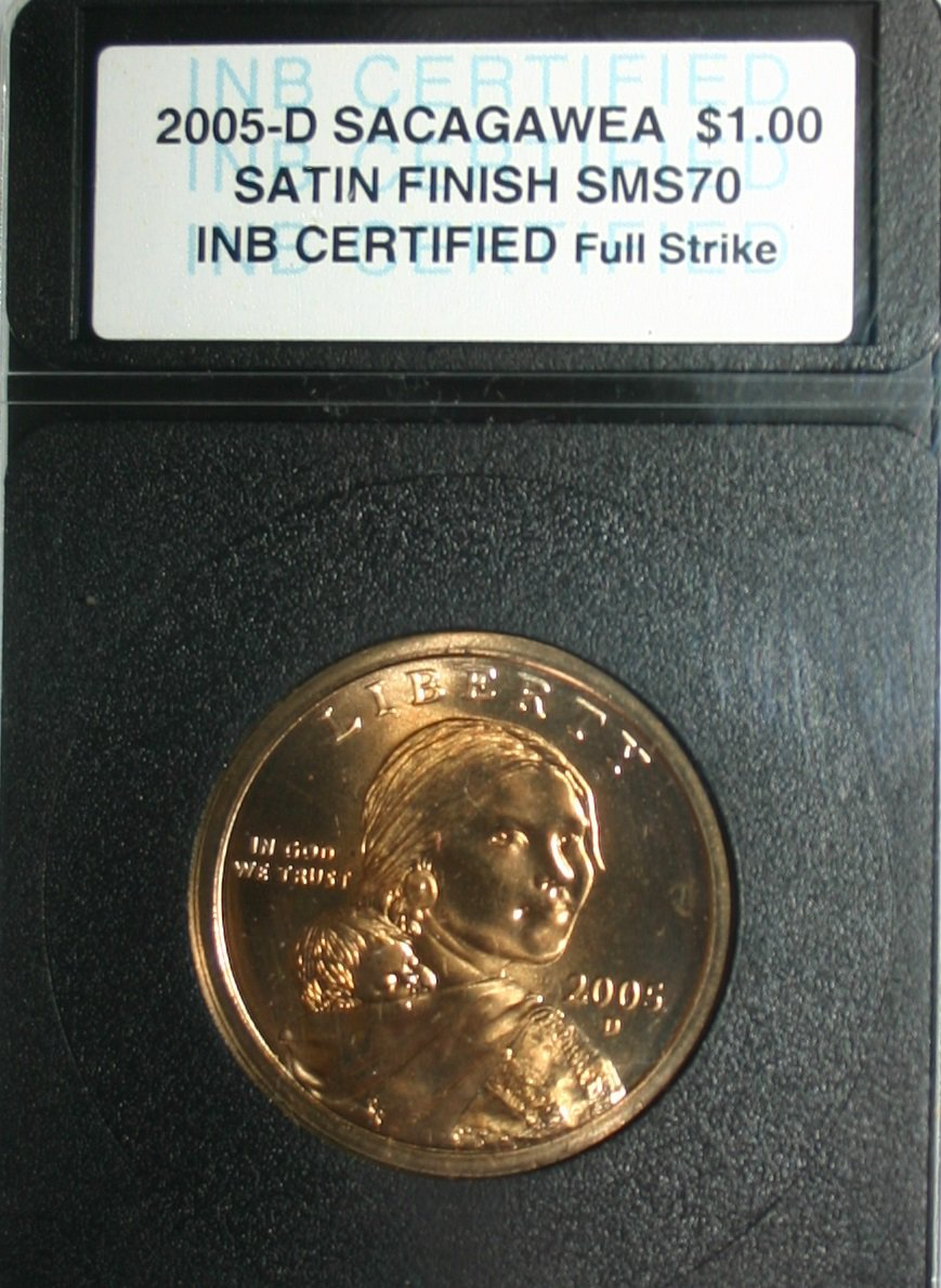 USA 2005-D Sacagawea $1.00 Satin Finish SMS70 Full Strike INB Certified Coin