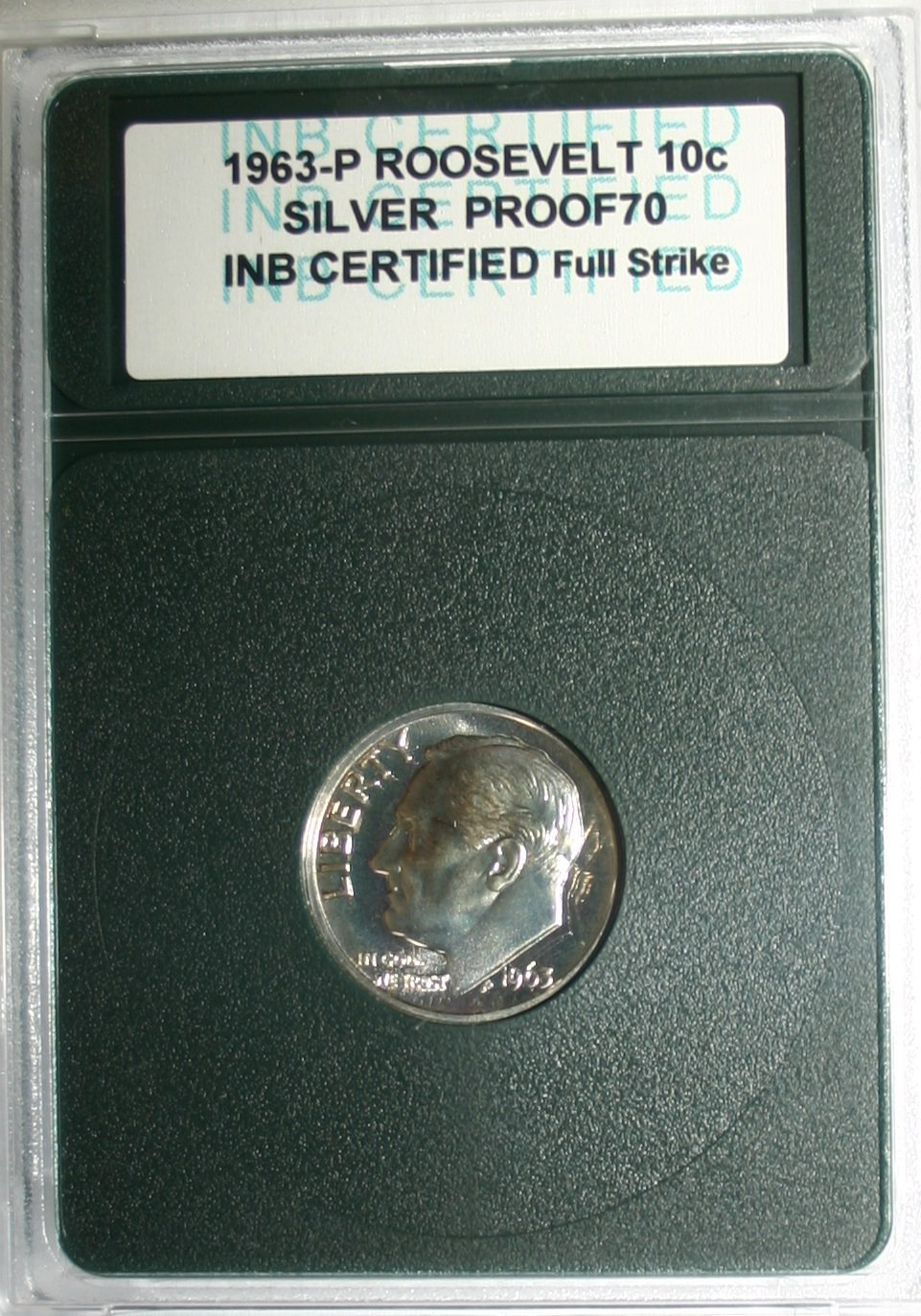 USA 1963-P Roosevelt 10 Cent Dime Silver Proof Full Strike INB Certified Coin