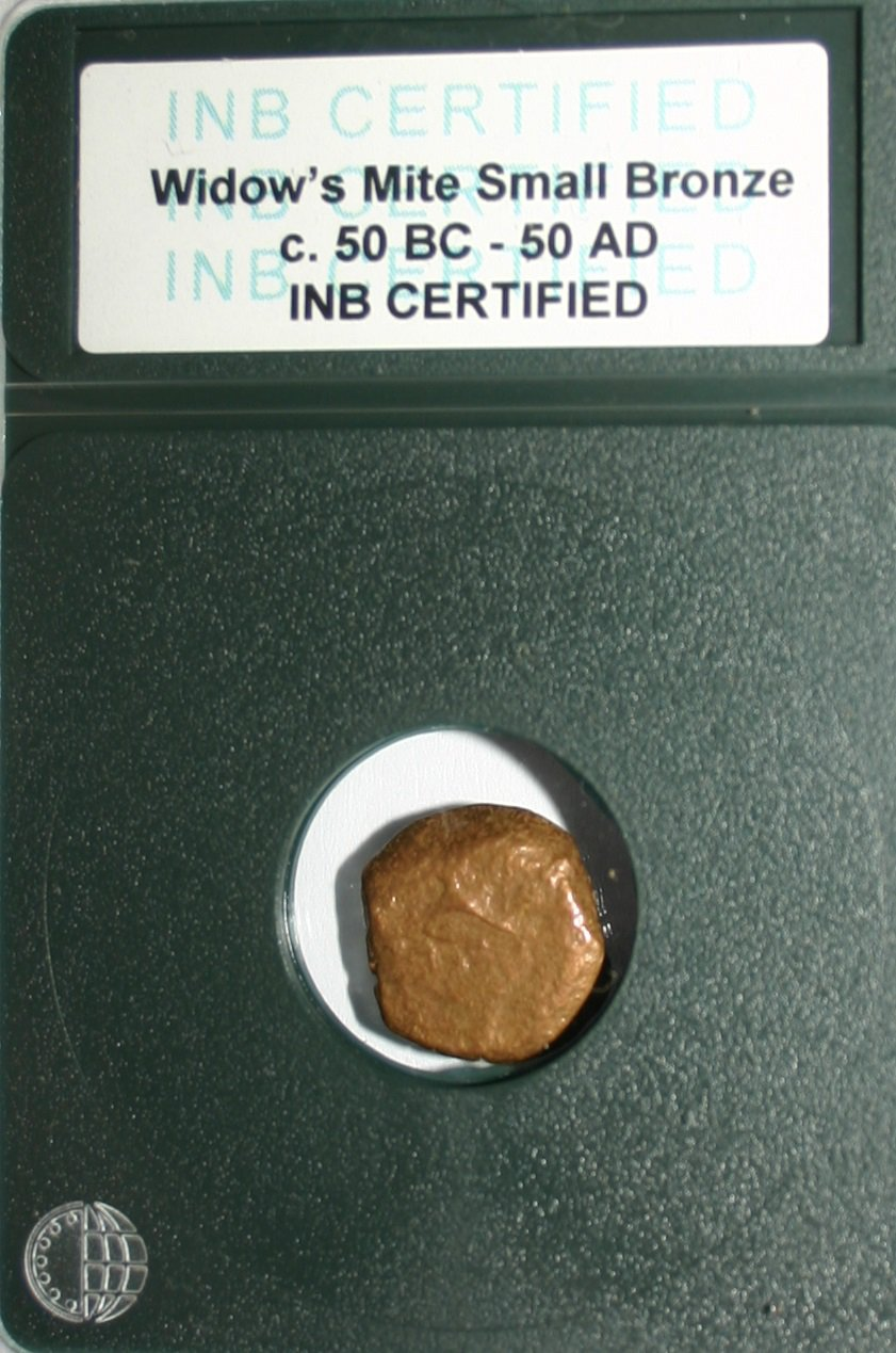 Ancient Rome Widow's Mite Bronze Biblical Coin 50 BC INB Certified Rare Design