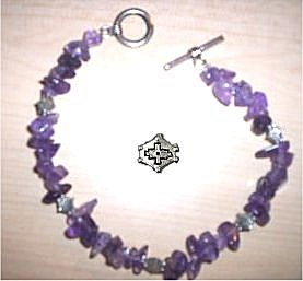 Amethyst and Pewter Bracelet with toggle closure