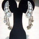 ART DECO GLAM GARB HUGE HOTSY-TOTSY CLIP STYLE DANGLE EARRINGS