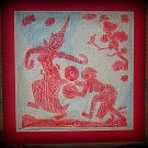 VINTAGE ORIGINAL THAILAND TEMPLE STONE RUBBING RED INK #12