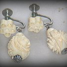 VINTAGE HAND CARVED IVORY COLORED DROP EARRINGS