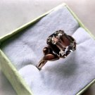HOTSY-TOTSY GLAM ART DECO 10 K RGP SIGNED ROCK CRYSTAL RING