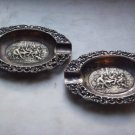 VINTAGE STERLING SILVER REPOUSSE HALLMARKED CRESCENT MOON & DEER ASHTRAYS